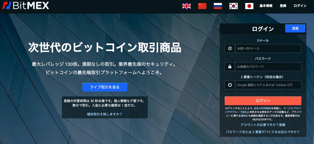 BitMEXのTop画面