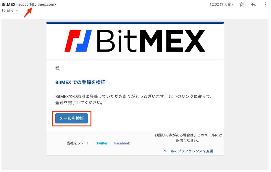 BitMEX登録Eメール画面