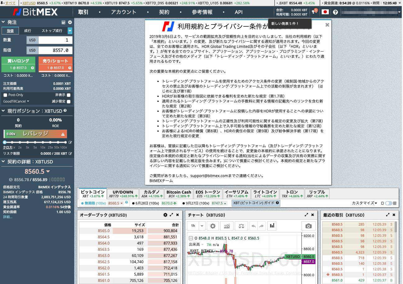 BitMEX取引画面Top