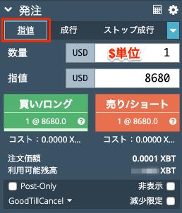 BitMEXの注文画面