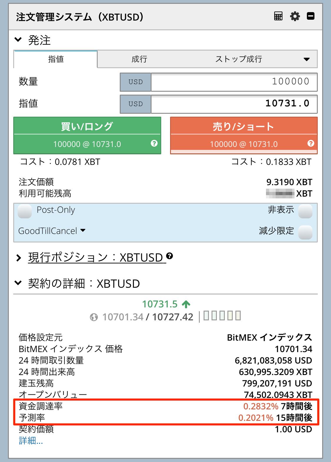 BitMEXスマホ画面での資金調達率