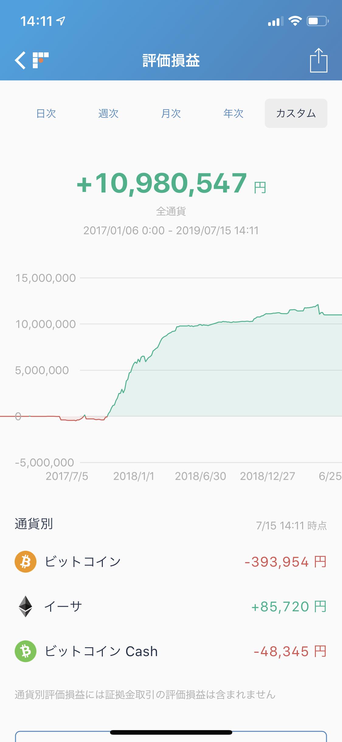 bitFlyerの年間損益画面