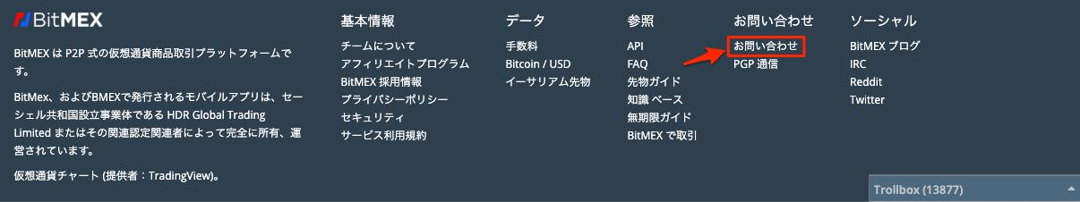 BitMEXのPC版お問い合わせ
