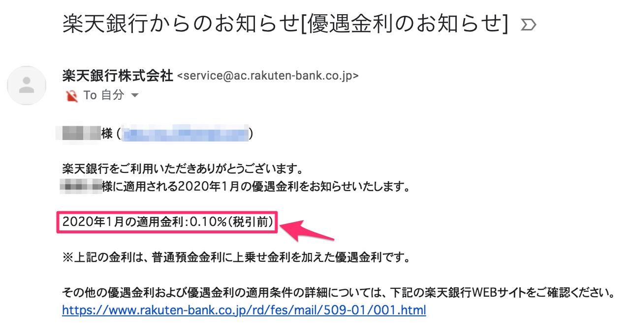楽天銀行の優遇金利のメール
