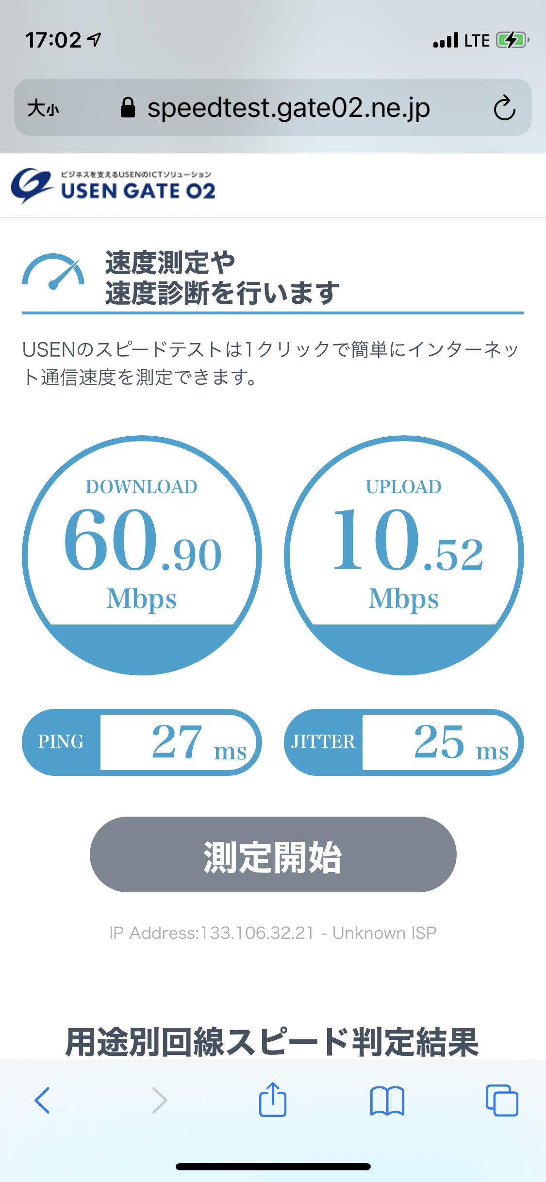 楽天モバイルの通信速度測定